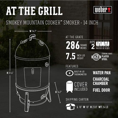 Dimensions of a smokey mountain weber
